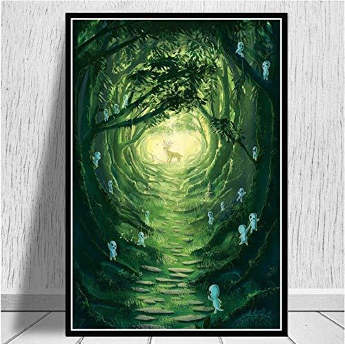 Studio Ghibli Prinzessin Mononoke Film Japan Anime Poster Drucke Ölgemälde Kunst Leinwand Wandbilder Für Wohnzimmer Wohnkultur 50 × 70 cm Ohne Rahmen