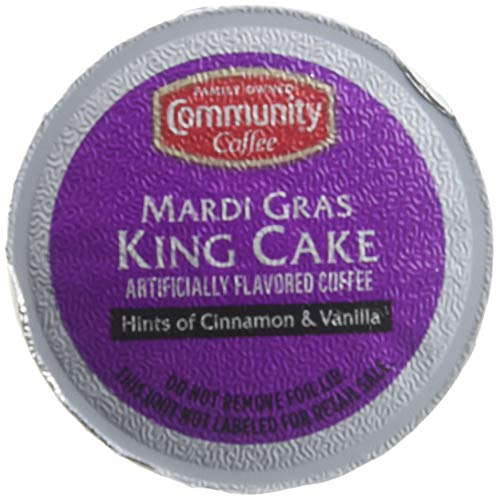 Community Coffee Mardi Gras King Cake Flavored Medium Roast Single Serve K-Cup Coffee Pods, Box of 12 Pods