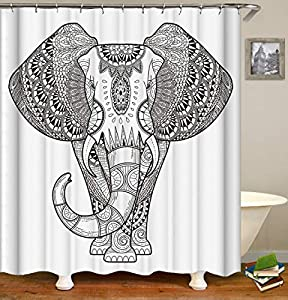 Fabric Shower Curtain,Elephant Ethnic Indian Mandala Floral Paisley Sacred Animal Unique White Polyester Designer Cloth, Print Decorative Bathroom Curtains Include Hooks Set (173)