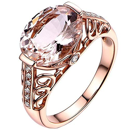 LJWJ Rings Girls Rose Crystal Temperament Rings,Personalized Fine Party Elegance Ornaments, Rose Gold/No.9