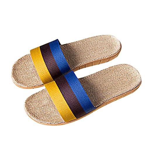 Chanclas Mujer Zapatillas De Hombre Antideslizantes De Lino Para El Hogar, Baño Interior, Punta Abierta, Zapatos Planos, Chanclas, Toboganes, Zapatos De Playa, Calzado-Yellow_13_Us