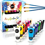 Colardo  Acryl Farben Set [12x 75ml] Acrylfarben - Inklusive 3 Pinsel – Wasserfeste Acrylfarbe für Leinwand, Holz, Papier und Stein - Acrylfarben Set für Kinder & Erwachsene