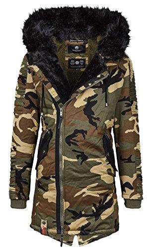 Marikoo warme Herren Winter Jacke Winterjacke Parka Biker Mantel B387 (L, Camouflage - Army)
