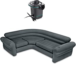 Set Section Inflated Sofa Coner With Electric Air Pump 120 Volt Quick Fill Capacity 880 Pound Waterproof Seat Sitting Living Room Outdoor Indoor Family Chair Air Bed Cupholder Pool Home Household