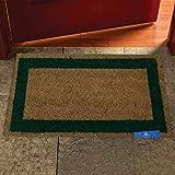 Comercial Candela Felpudo para Puerta de Casa de Fibra de Coco Liso de 15 mm Antideslizante | Cenefa Color (Verde, 40_x_70 CM)