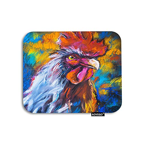 AOYEGO Rooster Mouse Pad Oil Painting of Farm Animal Colorful Rooster Hen Cock Gaming Mousepad Rubber Large Pad Non-Slip for Computer Laptop Office Work Desk 9.5x7.9 Inch