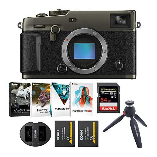 Fujifilm x-pro3 mirrorless camera body (dura black) w/manfrotto pixi tripod, 64gb pro card, the corel suite v. 3. 0 & essential accessories bundle (5 items)