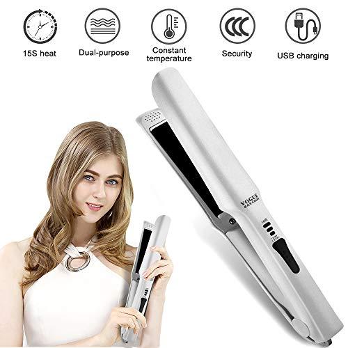 Mini alisador de pelo de viaje inalámbrico – Plancha de cerámica portátil recargable por USB, con temperatura ajustable y apagado automático, apto para todos los tipos de cabello (color blanco)
