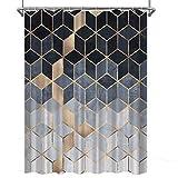 Verngo Marmor-Duschvorhang, marineblau, Ombré-Stil, wasserdicht, bunt, geometrisches Gittermuster, Bad-Dekoration, 183 cm, Farbe 1