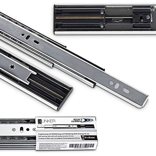 2 pares (4 piezas) Guías de Extracción Total 700 mm con Amortiguador y Nuevo Mecanismo de Retracción Soft-Close Capacidad de Carga 45kg de JUNKER