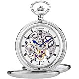 Gotham Men's Silver-Tone Double Cover Exhibition Mechanical Pocket Watch # GWC18804S