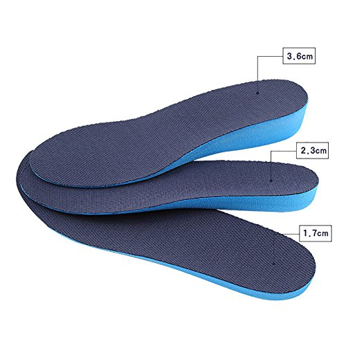 Boowhol-Augmentez Les Semelles pour Les Hommes et Femmes 1.7-3.6cm Sport Invisible Hauteur Hausse Semelle Absorption des Chocs Pad Complet Confort Doux (2 Paires) (Hauteur du talon 2.3cm, L(40-45 EU))