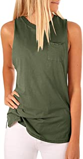 Hount Women's High Neck Tank Tops Summer Sleeveless T Shirts Loose Fit with Pockets
