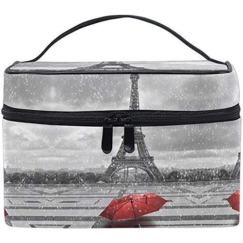 Parijs Eiffeltoren schminktas romantische rode paraplu cosmeticatas toiletartikelen reisborstel trein geval voor vrouwen