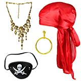 Beelittle Halloween Pirate Costume Accessories Durag Long-Tail Headwraps Silky Pirate Cap Pirate Eye Patch Gold Earring Necklace Pirate Role Play Set (Red 2)