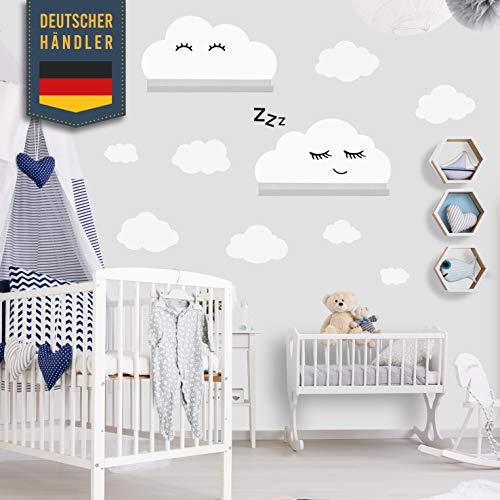 Clouds muursticker set zelfklevend voor IKEA RIBBA/MOSSLANDA wandplank - houtsnippers muurstickers, stickers, behangstickers om op te plakken, muurdecoratie voor peuters en babykamer decoratie wit