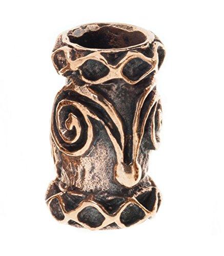 Battle-Merchant Bartperle Wikinger/Perle für Dreadlocks aus Bronze mit Spiralen & Rauten Ø 6mm