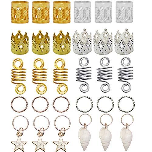 Pixnor 90 Pezzi di Accessori per Capelli Intrecciati con Perline in Metallo E Accessori per Ciondoli per Capelli con Conchiglia E Stella