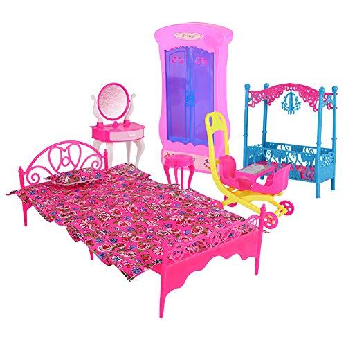 Deryang Juego de Muebles de plástico para casa de muñecas, Hermosos Detalles de patrón de Flores, Lindos y Hermosos Muebles Ligeros para casa(Bedroom Set Without Doll)