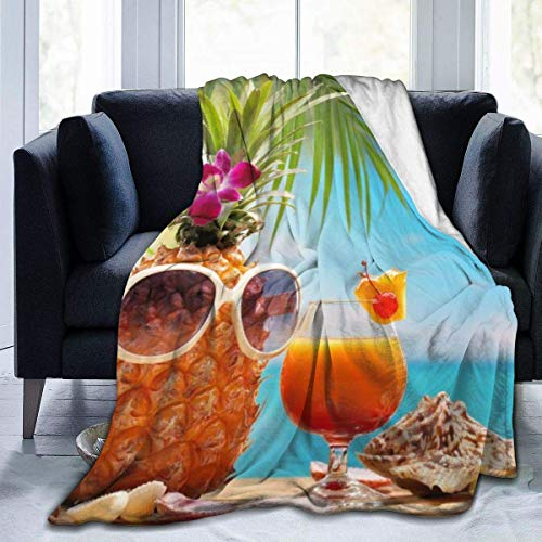 uytrgh Manta de Franela, Hermosos artículos de Playa, Mantas acogedoras con Borde Cosido, Alfombra térmica portátil de Felpa para sofá Cama, sofá de 60 x 50 Pulgadas