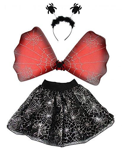 Foxxeo Halloween Set Spinnen Kostüm Set für Mädchen - TutuFlügelHarreif mit Spinnen - Mädchenkostüm Kinder Tierkostüm Kinderkostüm gruselig schwarz Horror