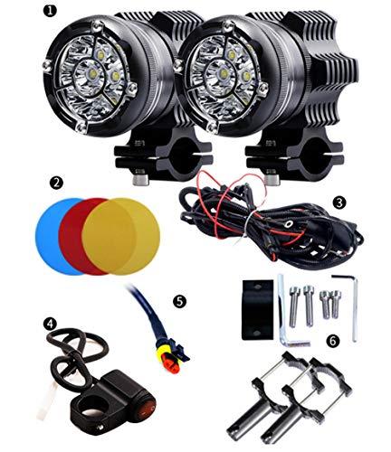 Motorradscheinwerfer Blendlichter Superhell LED-Außenleuchten nachrüsten Scheinwerfer Stroboskopleuchten Zusatzscheinwerfer, 1 Paar Stroboskop mit neun Perlen