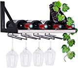 Rustic Wood Wine Storage Rack Wall Mounted with Stemware Hanging Holder for Kitchen Bedroo...