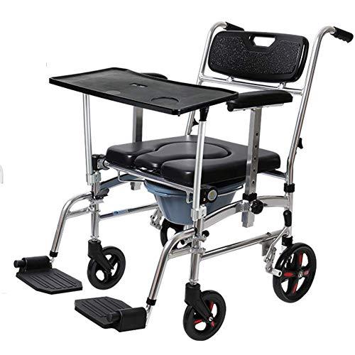 WANGXN Silla de Ruedas Silla de Ruedas con Orinal móvil Plegable Puede bañarse con una Mesa Sillas de Ruedas para discapacitados portátiles multifunción para Ancianos
