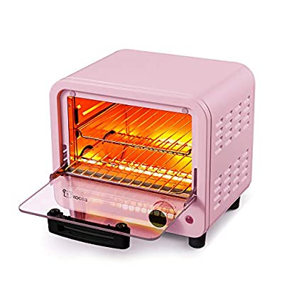 Toaster oven | Small Toaster Oven | Mini Toaster Oven | 6 liters |Mini oven| electric oven | Oven | Small oven | removable crumb tray | Interior lighting | 3D recirculation | 550 watts (6 Liters, Pink)