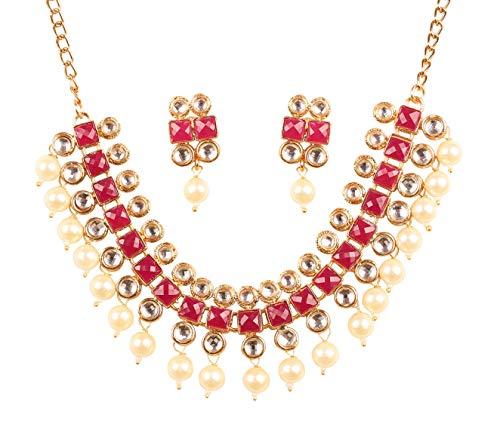 Touchstone Wunsch Exklusive Mogul-Ära inspiriert stilvolle traditionelle Kundan Polki Look Designer Braut Designer Schmuck Choker Halskette Set für Damen Red & Pearl