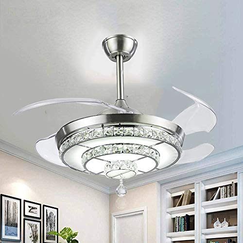 BIGBANBAN Crystal Ceiling Fan with Lights and Remote, 4-Blade Retractable Fan Chandelier LED Indoor Fans Ceiling for Dining Room/Bedroom 42 inch (Sliver)