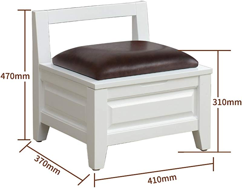 D L Solid Wood Vintage Storage Stool Footstool Upholstered Storage Box 4 Legs And Faux Leather Cover D L41xW37xH47cm