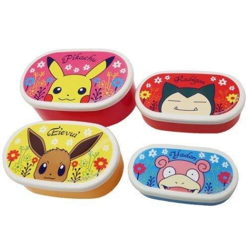 Small Planet PMLC1378 - Juego de 4 cajas de almuerzo de Pokemon Pocket Monsters, 450 + 280 + 180 + 100 ml, diseño de flores, fabricado en Japón