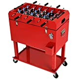 UPHA 68 Quart Rolling Outdoor Cooler, Patio Cooler Cart on Wheels, Portable Drink Beverage Bar for Patio Pool Party, Ice Chest with Shelf, Bottle Opener and Foosball Table Top, Red.