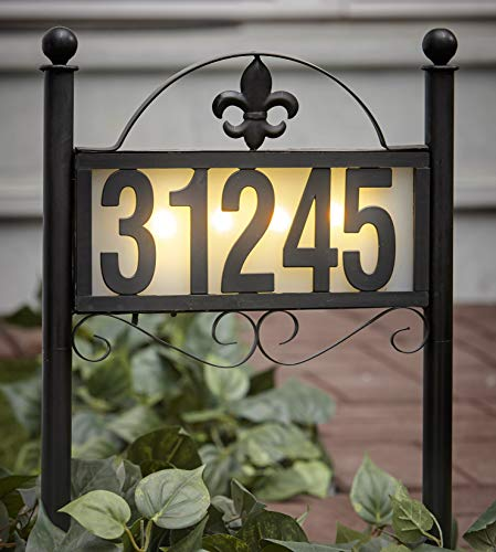 The Lakeside Collection Solar Address Stake with Backlit House Numbers, Fleur de Lis Scrollwork