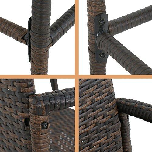 SUPER DEAL Upgraded Wicker Bar Stool Outdoor Backyard Rattan Chair Wine Rack w/Shelves, w/Iron Frame, Armrest and Footrest (1)