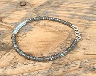 Blue Topez and Labradorite Bracelet-Flashing Blue Labradorite -Energy Healing Gemstones - Sterling Silver- Boho- Stacking- Aura 3-3.5 mm Code- WAR6784