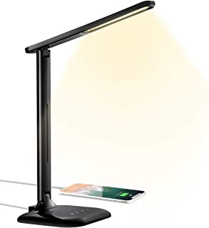 LED Desk Lamp, Eye-caring Table Lamp, Desk Light with USB Charging Port, 5 Color Mode and 5 Brightness Levels, Sensitive Control, 10W Power for Reading, Working, Painting, Sleeping in Home, Office