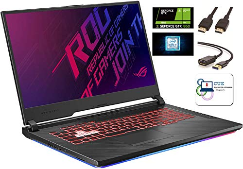 "Asus ROG Strix G Gaming Laptop, 17.3"" 120Hz IPS Type FHD, NVIDIA GeForce GTX 1650, Intel 6-Core i7-9750H, Backlit RGB KB, 802.11 ac, Bluetooth, Windows 10 Home + CUE Accessories (16GB DDR4, 1TB SSD)"