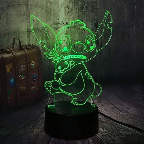 Nachtlampje 3D-slaaplamp design cartoon leuk houden van een pop 3D LED nachtlampje 7 kleurwisseling bureaulamp kind kerstcadeau home decor vakantie
