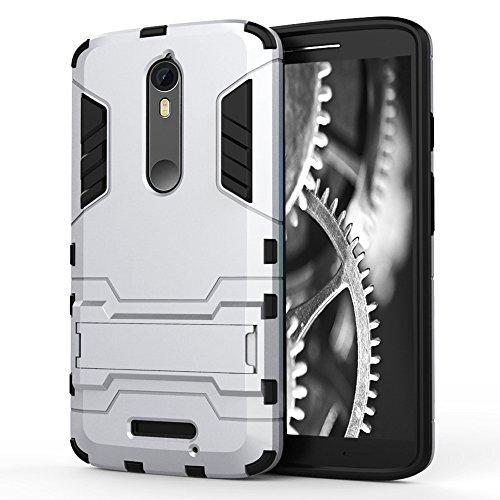 Schutz Hülle für Motorola Moto X Force, Motorola Moto X3 | Kunststoff Hard Cover Silber | Bumper mit Kickstand | Schale TPU Hybrid Schutzhülle Outdoor Handy Case Tasche