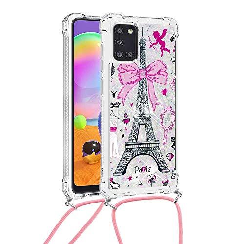 Funda cruzada para Samsung Galaxy A42 5G, 3D Glitter Quicksand fluye líquido Bling Sparkle Cute Clear Clear TPU Lanyard Cord Gel Silicona a prueba de golpes Funda protectora Torre