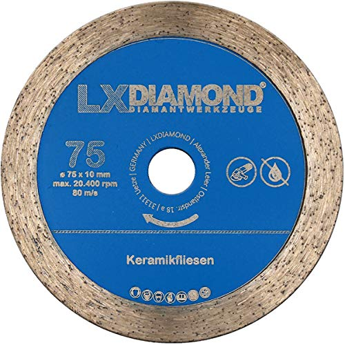 LXDIAMOND Disco de corte de diamante de 75 mm x 10 mm, para azulejos, cerámica, gres porcelánico, apto para Bosch GWS 12 V, amoladora angular con batería profesional de 76 mm