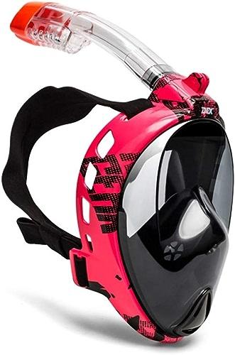 TSDS Masque de plongée Adulte Lunettes Anti-buée Pleine Combinaison de plongée à Sec Rose Masque Noir