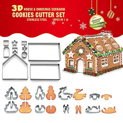 Guanici 18 Piezas Moldes para Galletas Navidad 3D Juego De C