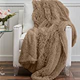 The Connecticut Home Company Soft Shag with Sherpa Bed Throw Blanket, Many Colors, Fluffy Large Luxury Reversible Blankets, Fuzzy Washable Throws for Couch, Beds, Home Bedroom Decor, 65x50, Beige