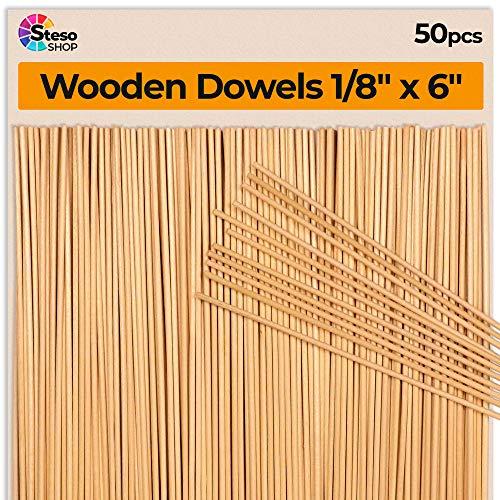 StesoSHOP Holzstäbchen zum Basteln 15 cm x 3 mm Ø - Holzstab Rund - Eisstiele aus Holz…