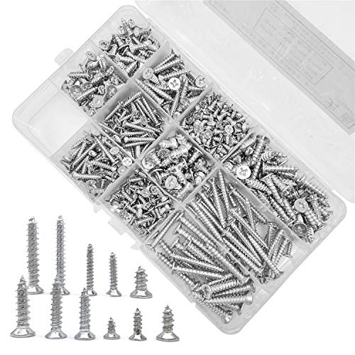 JJYHEHOT Self Tapping Screws Set, 11 Sizes of M3/m4/m5 Series, Widely Used in Home and Garden Maintenance