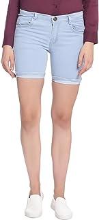 Broadstar Women Denim Light Blue Shorts