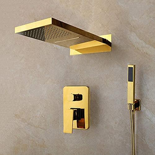 CZYNB Lujo chapado en oro sólido latón lluvia cascada baño ducha mano 2 funciones ducha mezclador baño ducha conjuntos